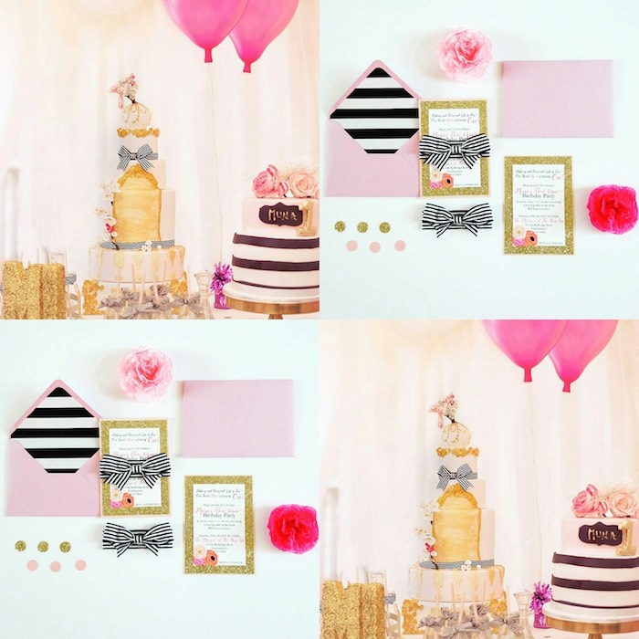 Fashion Boutique Birthday Party Cake and Invitations