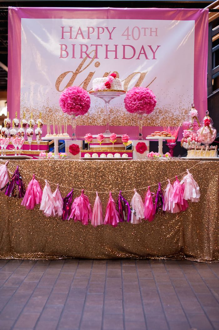 pink and gold party table