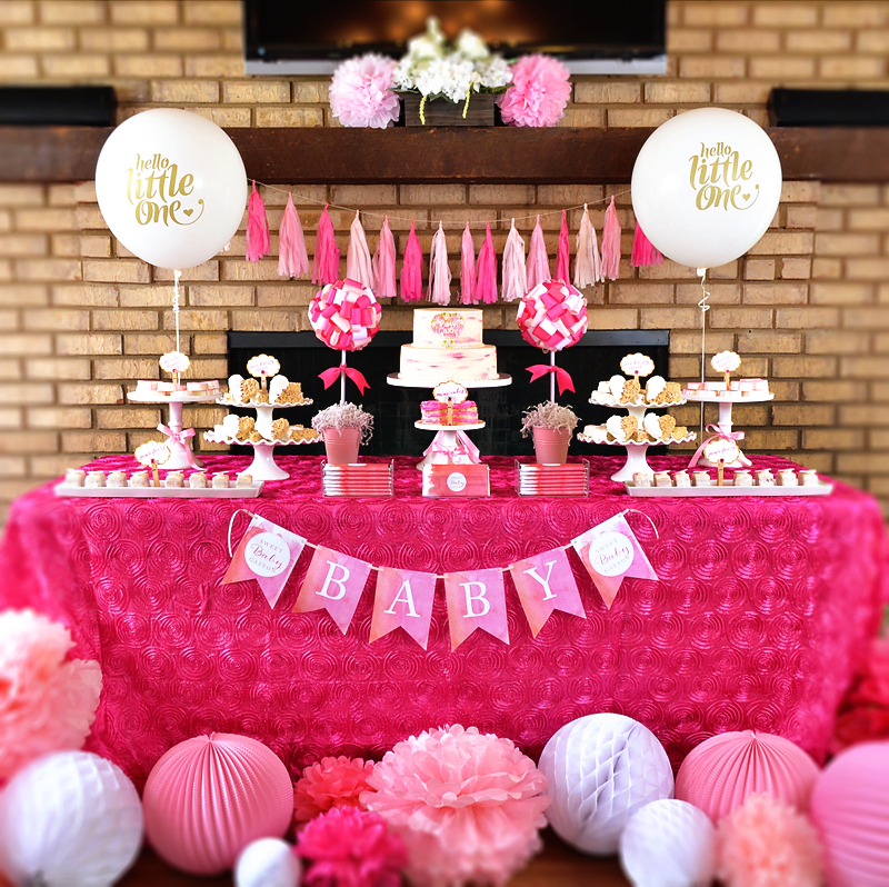 Tickled Pink Baby Shower Party Table