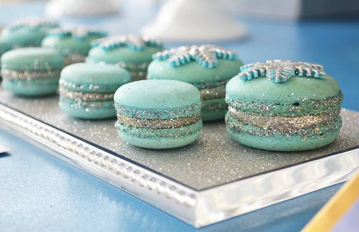 Frozen Birthday Party Macarons