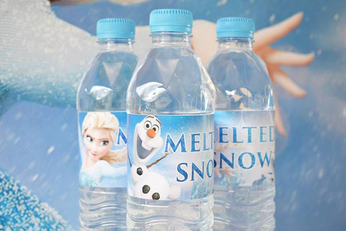 Frozen Birthday Party Water Bottle Labels