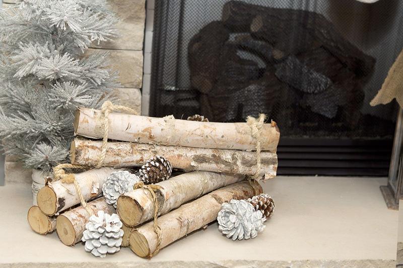 birch wood fireplace decor - Birch Christmas Decorations