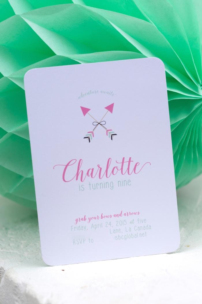 bow and arrow themed birthday party invitation