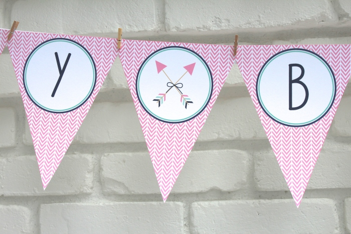 bow and arrow themed birthday party banner
