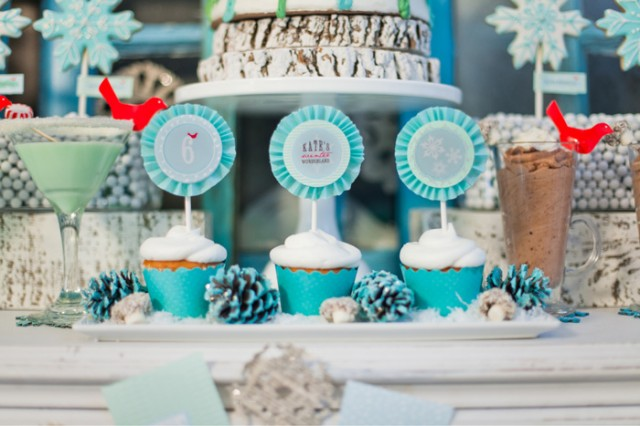 Whimsical Winter Wonderland Birthday Party cupcakes