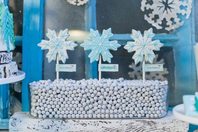 Whimsical Winter Wonderland Birthday Party snow flake cookies