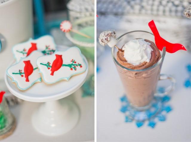 Whimsical Winter Wonderland Birthday Party cardinal cookies