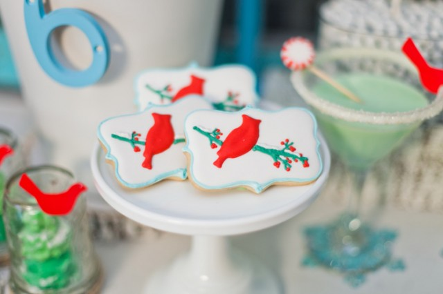 Whimsical Winter Wonderland Birthday Party cardinal cookies