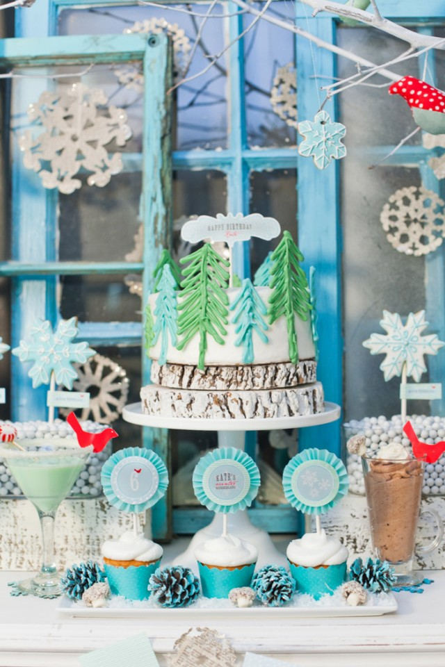 Whimsical Winter Wonderland Birthday Party cake