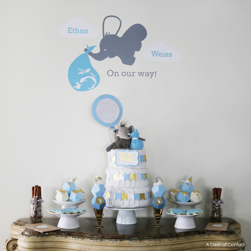 Geometric blue gold elephant baby shower for Baby boy baby shower decoration ideas