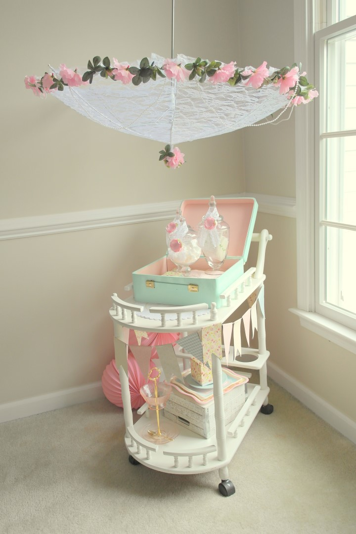tea party bridal shower parasol diy