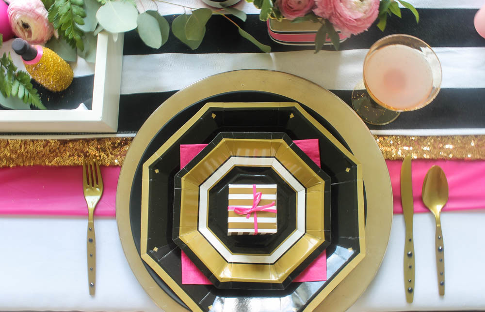 Hot Pink Black And White Wedding Tablescape