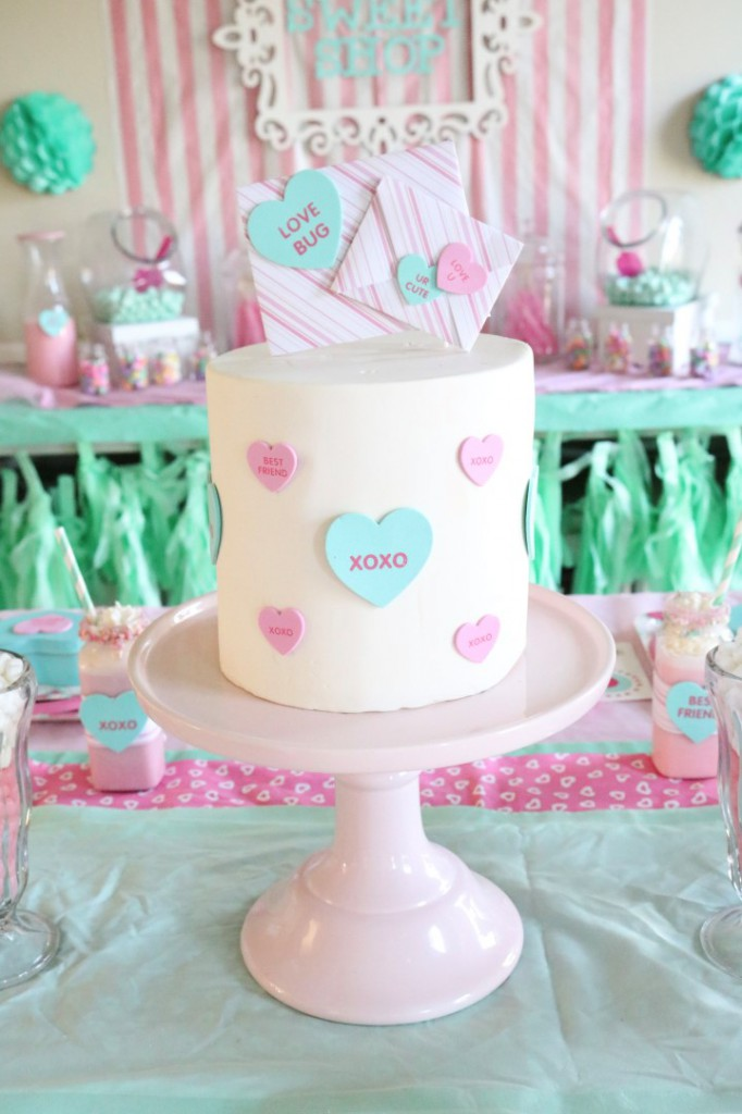 mint and pink sweet shop valentine's day party ideas