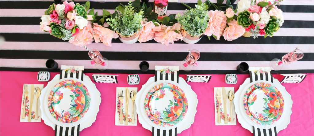 Black and White Striped Floral Bridal Shower Kate SpadeShower