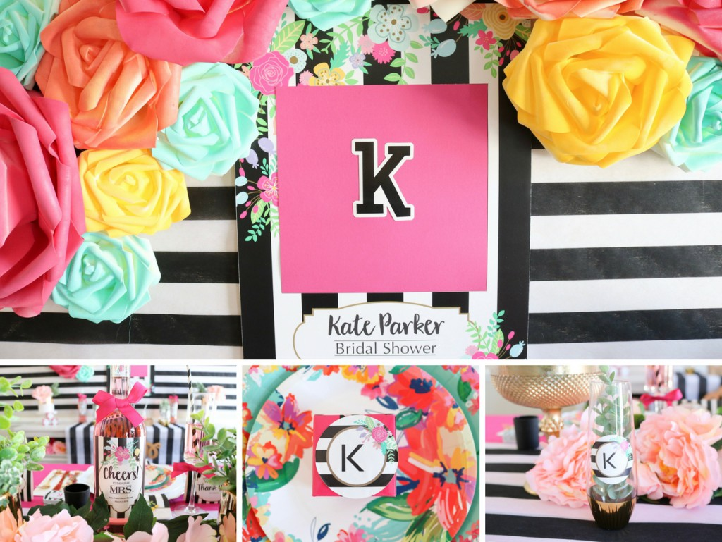 Black and White Stripe Floral Bridal Shower Kate Spade Shower