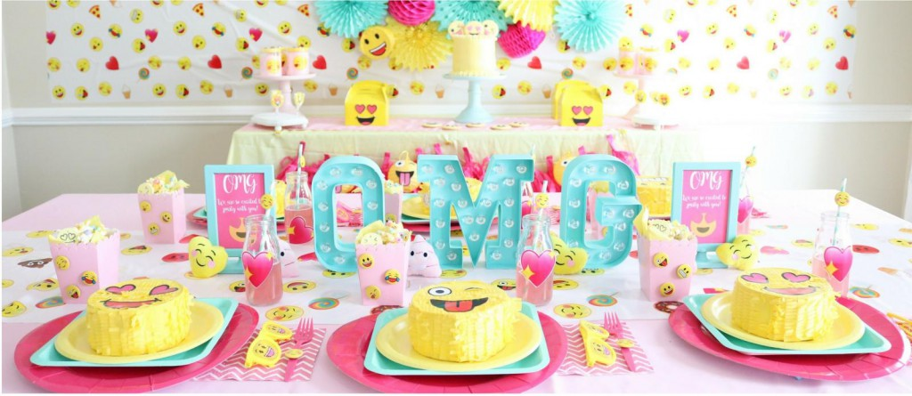 pink and yellow girly emoji birthday party ideas